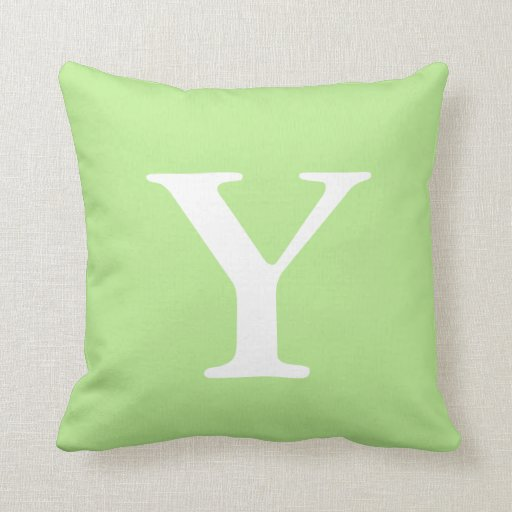 Throw Pillows In Mint Green : Mint Green White Monogrammed Y Throw Pillow Zazzle