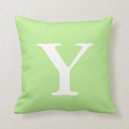 Mint Green White Monogrammed Y Throw Pillow Zazzle