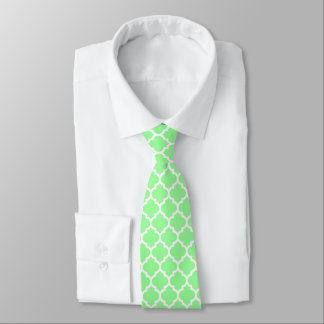 Mint Green White Moroccan Quatrefoil Pattern #5 Neck Tie