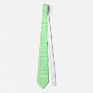 Mint Green White Moroccan Quatrefoil Pattern #5 Tie