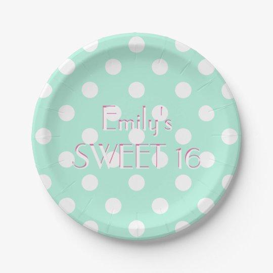 Mint green white polka dot paper plate  sc 1 st  Zazzle & Mint green white polka dot paper plate | Zazzle.com