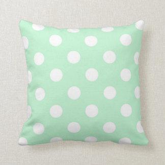 Mint Green White Polka Dot Pattern Pillow