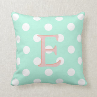 mint green white polka dot pillow