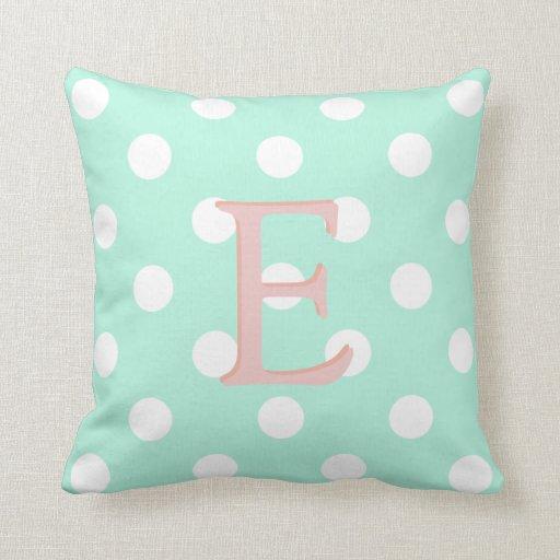 mint green white polka dot pillow