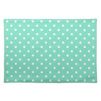 Mint Green White Polka Dot Spotty Pattern Placemat