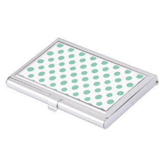 Mint Green White Polka Dots Pattern Case For Business Cards