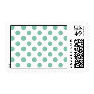 Mint Green White Polka Dots Pattern Postage