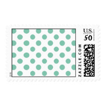 Mint Green White Polka Dots Pattern Postage