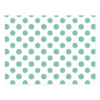 Mint Green White Polka Dots Pattern Postcard