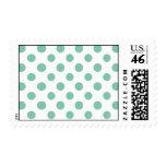 Mint Green White Polka Dots Pattern Stamp