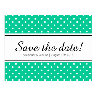 Mint green & white polkadot save the date postcard