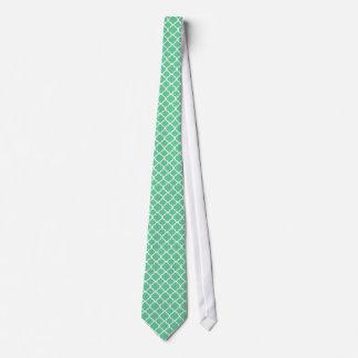 Mint green & White Quatrefoil Geometric Pattern Neck Tie