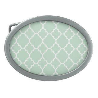 Mint Green White Quatrefoil Moroccan Pattern Oval Belt Buckle
