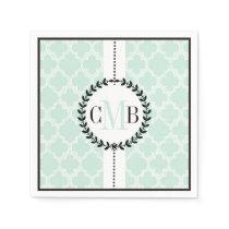 Mint green, white quatrefoil pattern wedding napkin