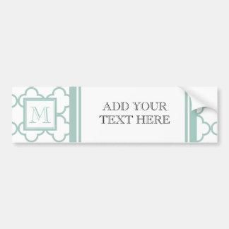 Mint Green, White Quatrefoil | Your Monogram Bumper Sticker