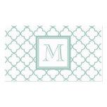 Mint Green, White Quatrefoil | Your Monogram Business Card