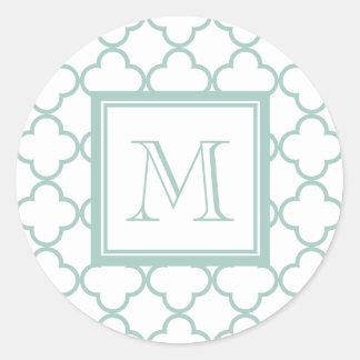 Mint Green, White Quatrefoil   Your Monogram Classic Round Sticker