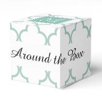 Mint Green, White Quatrefoil | Your Monogram Favor Box