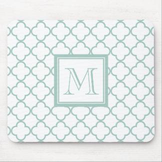 Mint Green, White Quatrefoil   Your Monogram Mouse Pad