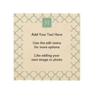 Mint Green, White Quatrefoil | Your Monogram Wood Wall Art