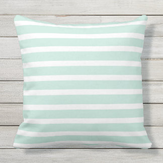 mint green u0026 white striped lines beautiful summer throw pillow