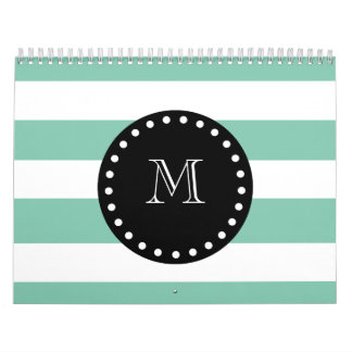 Mint Green White Stripes Pattern, Black Monogram Calendar