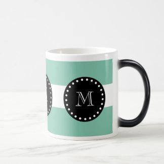Mint Green White Stripes Pattern, Black Monogram Magic Mug