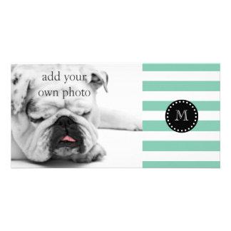 Mint Green White Stripes Pattern, Black Monogram Photo Card