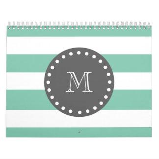Mint Green White Stripes Pattern, Charcoal Monogra Wall Calendar