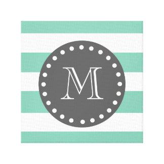 Mint Green White Stripes Pattern, Charcoal Monogra Canvas Prints