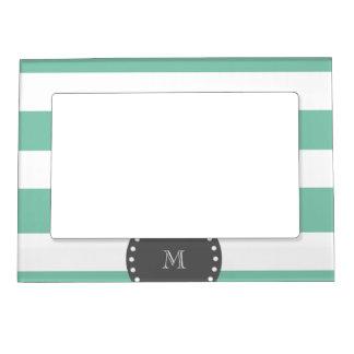 Mint Green White Stripes Pattern, Charcoal Monogra Magnetic Frame