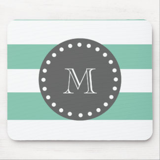 Mint Green White Stripes Pattern, Charcoal Monogra Mouse Pad