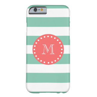 Mint Green White Stripes Pattern, Coral Monogram Barely There iPhone 6 Case
