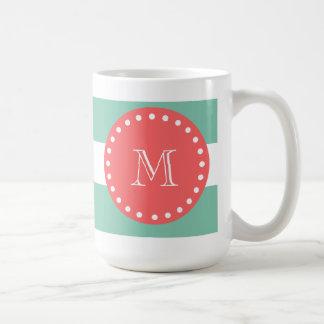 Mint Green White Stripes Pattern, Coral Monogram Classic White Coffee Mug