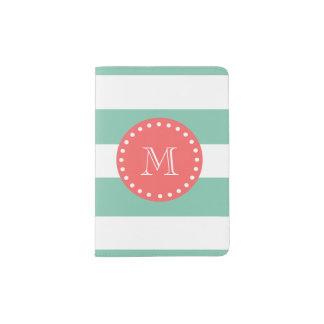 Mint Green White Stripes Pattern, Coral Monogram Passport Holder