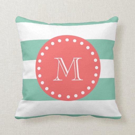 Mint Green White Stripes Pattern, Coral Monogram Throw Pillow