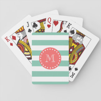 Mint Green White Stripes Pattern, Coral Monogram Playing Cards