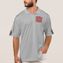 Mint Green White Stripes Pattern, Coral Monogram Polo Shirt