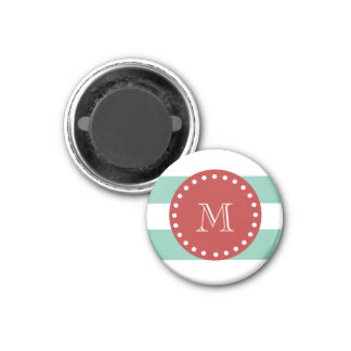 Mint Green White Stripes Pattern, Red Monogram 1 Inch Round Magnet