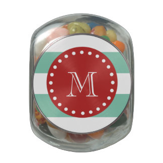 Mint Green White Stripes Pattern, Red Monogram Glass Candy Jars