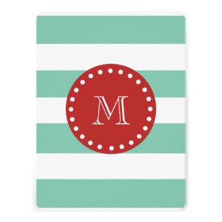 Mint Green White Stripes Pattern Red Monogram Custom Invitations
