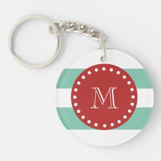 Mint Green White Stripes Pattern, Red Monogram Keychain