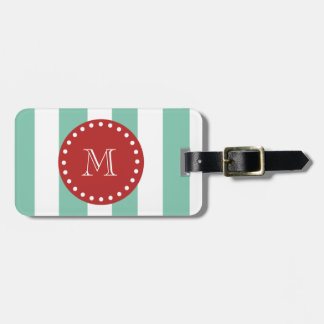 Mint Green White Stripes Pattern, Red Monogram Bag Tags