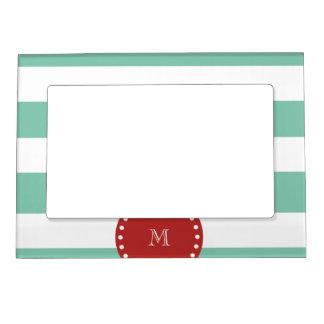 Mint Green White Stripes Pattern, Red Monogram Magnetic Photo Frame