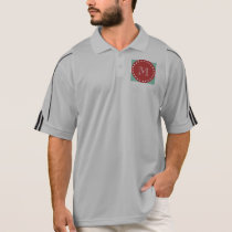 Mint Green White Stripes Pattern, Red Monogram Polo Shirt
