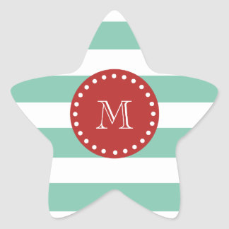 Mint Green White Stripes Pattern, Red Monogram Star Sticker