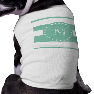 Mint Green White Stripes Pattern, Your Monogram Tee