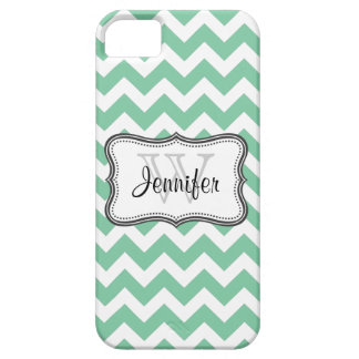 Mint Green & White Trendy chevron pattern iPhone 5 iPhone 5 Cases