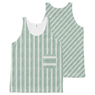 Mint Green White Vertical Diag Stripes Faux Pocket All-Over Print Tank Top