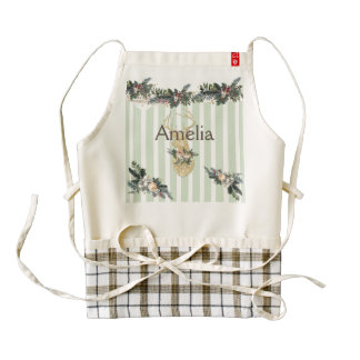 mint green ,white,vertical trendy stripes,shabby c zazzle HEART apron